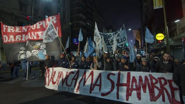 Protesta alimentos Frente dario santillán alimentos