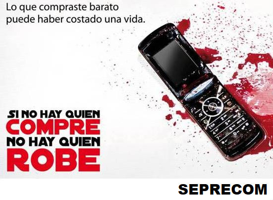 100cd362fd Con esa frase la ONG Seprecom de Burzaco lanzó una campaña de  concientización para desalentar la compra de teléfonos robados y combatir  de este modo el robo ...